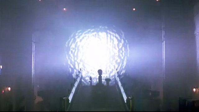 The initial opening of the stargate. Stargate, 1994.
