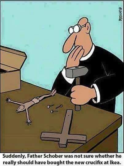 Suddenly, Father Schober was not sure whether he really should have bought he new crucifix at Ikea.